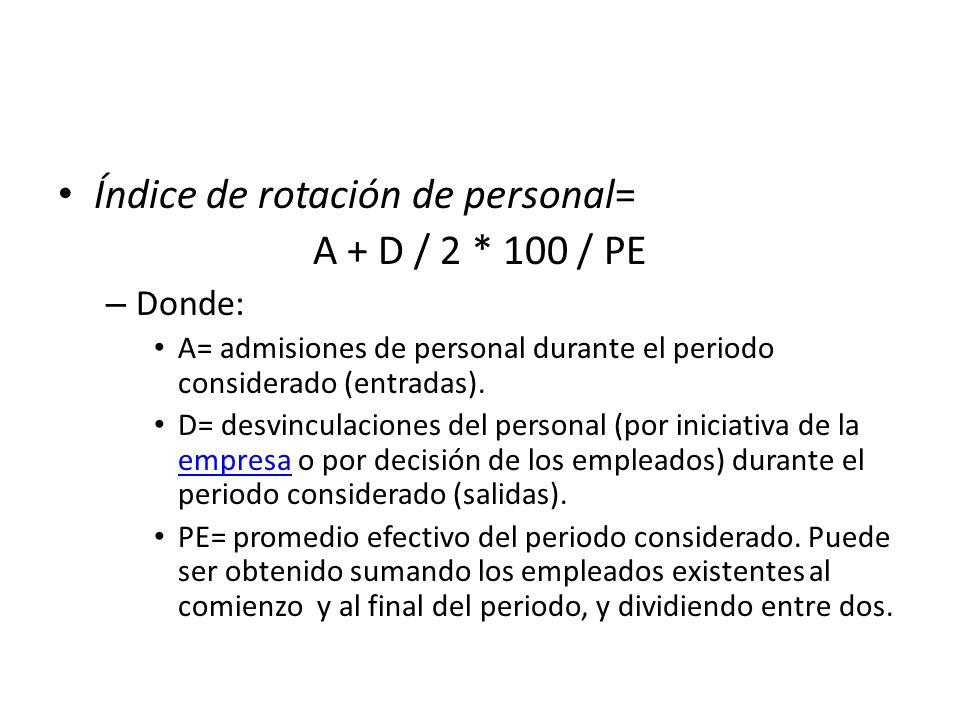 Índice de rotación de personal= A + D / 2 * 100 / PE – Donde: A= admisiones de personal durante el periodo considerado (entradas). D= desvinculaciones