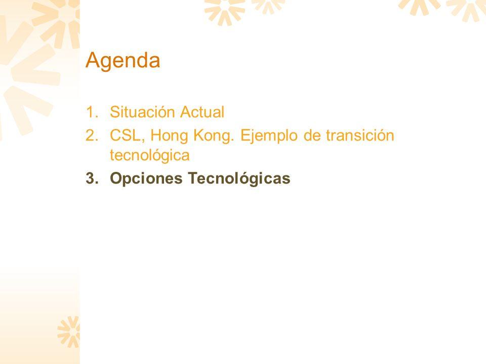 Agenda 1.Situación Actual 2.CSL, Hong Kong. Ejemplo de transición tecnológica 3.Opciones Tecnológicas