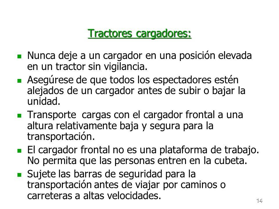 14 Tractores cargadores: Nunca deje a un cargador en una posición elevada en un tractor sin vigilancia. Asegúrese de que todos los espectadores estén