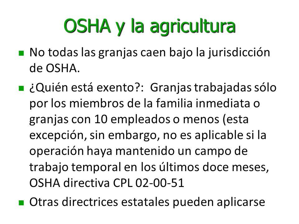 OSHA y la agricultura No todas las granjas caen bajo la jurisdicción de OSHA. ¿Quién está exento?: Granjas trabajadas sólo por los miembros de la fami