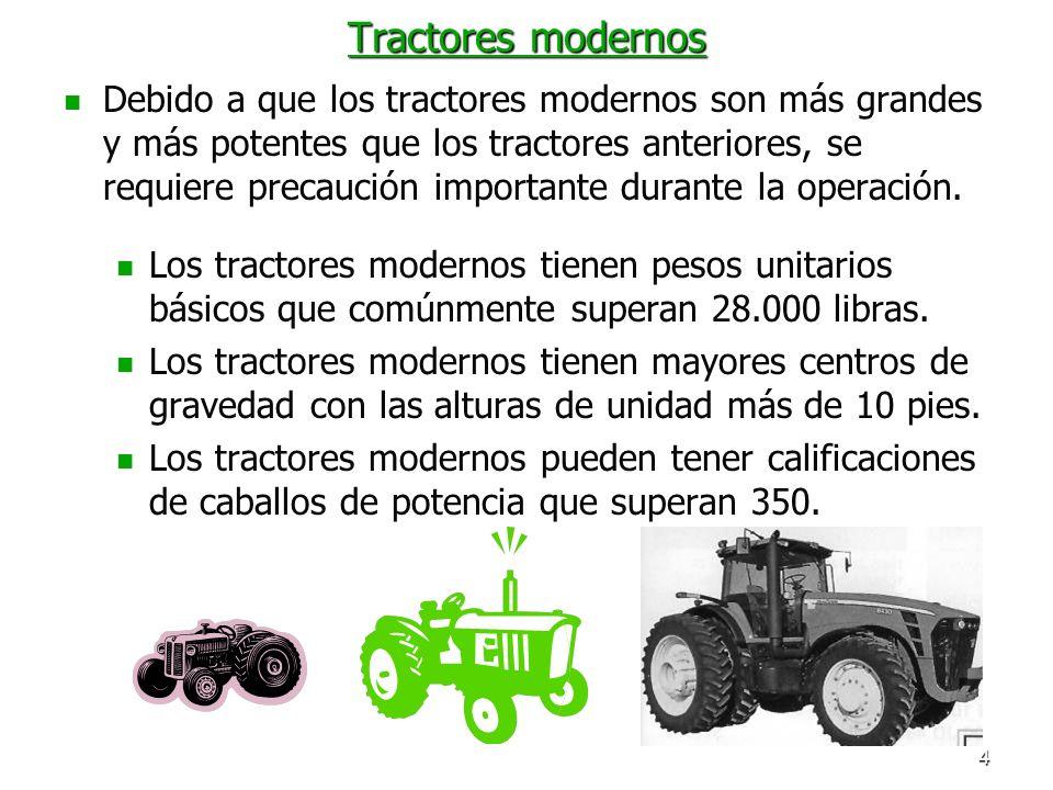 4 Tractores modernos Debido a que los tractores modernos son más grandes y más potentes que los tractores anteriores, se requiere precaución important