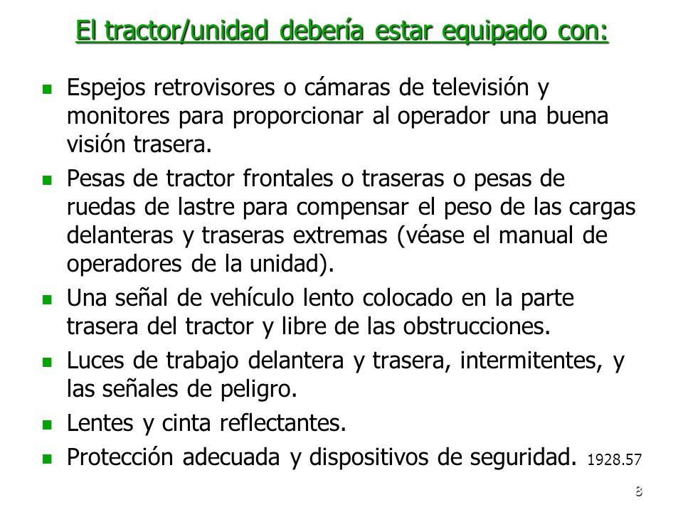 8 El tractor/unidad debería estar equipado con: Espejos retrovisores o cámaras de televisión y monitores para proporcionar al operador una buena visió