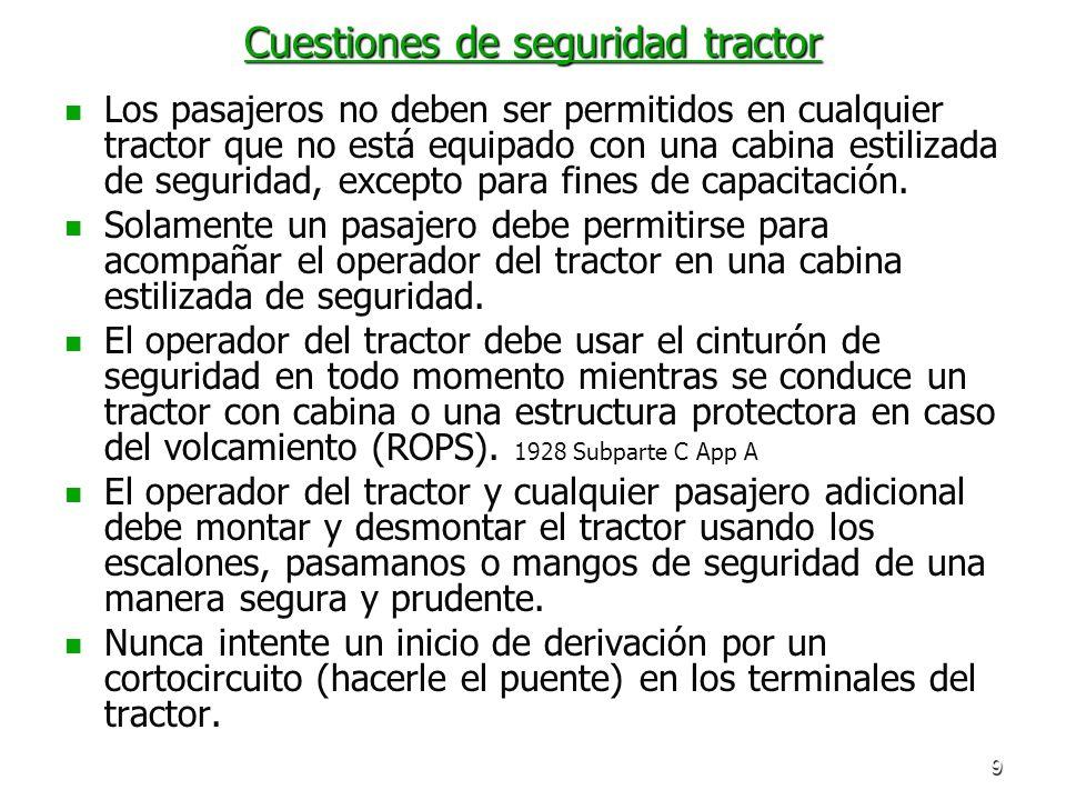 9 Cuestiones de seguridad tractor Los pasajeros no deben ser permitidos en cualquier tractor que no está equipado con una cabina estilizada de segurid