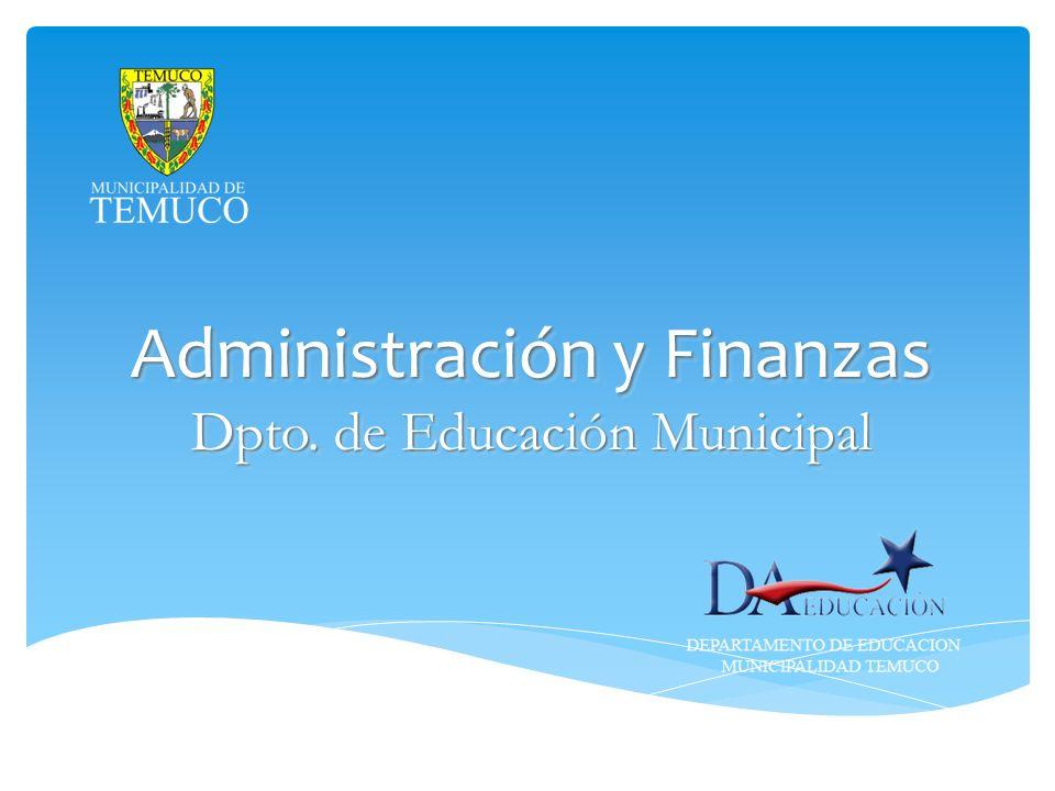 Administración y Finanzas Dpto. de Educación Municipal