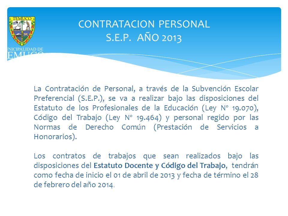 CONTRATACION PERSONAL S.E.P. AÑO 2013 La Contratación de Personal, a través de la Subvención Escolar Preferencial (S.E.P.), se va a realizar bajo las