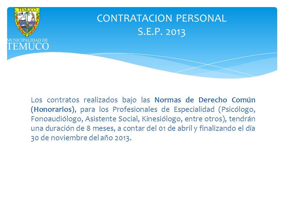CONTRATACION PERSONAL S.E.P. 2013 Los contratos realizados bajo las Normas de Derecho Común (Honorarios), para los Profesionales de Especialidad (Psic