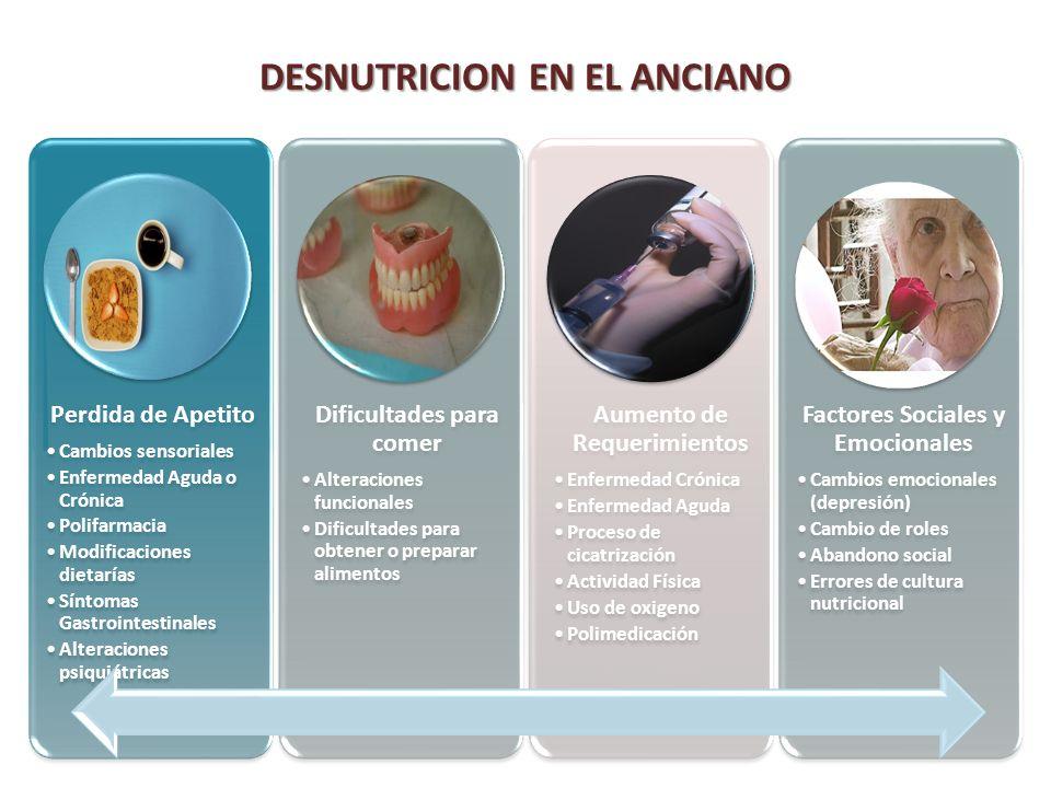 DESNUTRICION EN EL ANCIANO Perdida de Apetito Cambios sensoriales Enfermedad Aguda o Crónica Polifarmacia Modificaciones dietarías Síntomas Gastrointe
