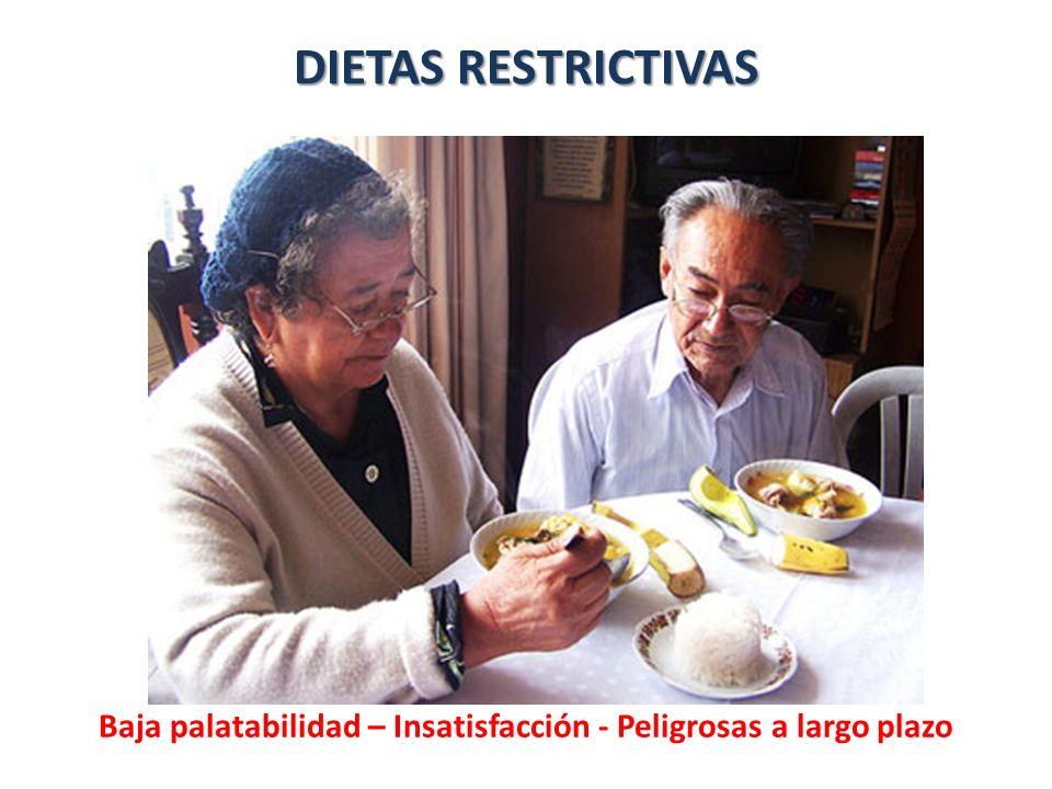 DIETAS RESTRICTIVAS Baja palatabilidad – Insatisfacción - Peligrosas a largo plazo