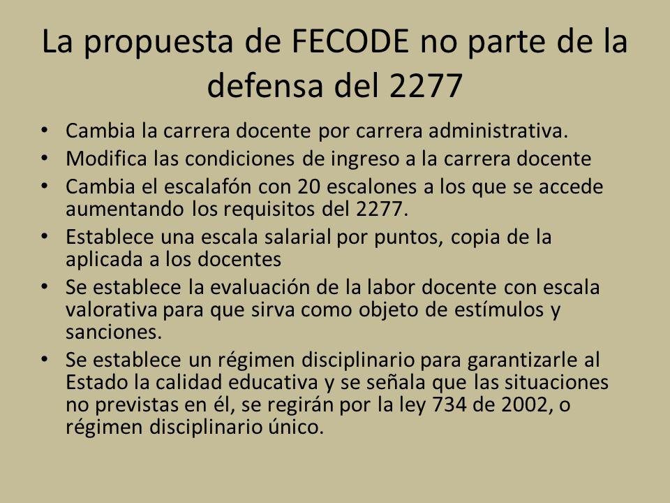 La propuesta de FECODE no parte de la defensa del 2277 Cambia la carrera docente por carrera administrativa. Modifica las condiciones de ingreso a la