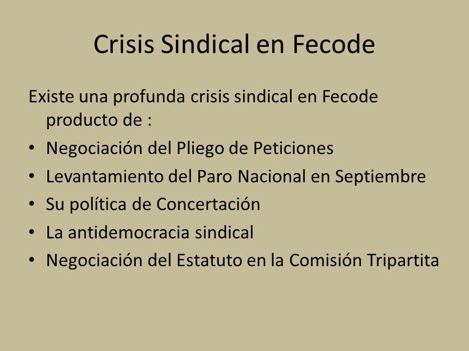 Crisis Sindical en Fecode Existe una profunda crisis sindical en Fecode producto de : Negociación del Pliego de Peticiones Levantamiento del Paro Nacional en Septiembre Su política de Concertación La antidemocracia sindical Negociación del Estatuto en la Comisión Tripartita