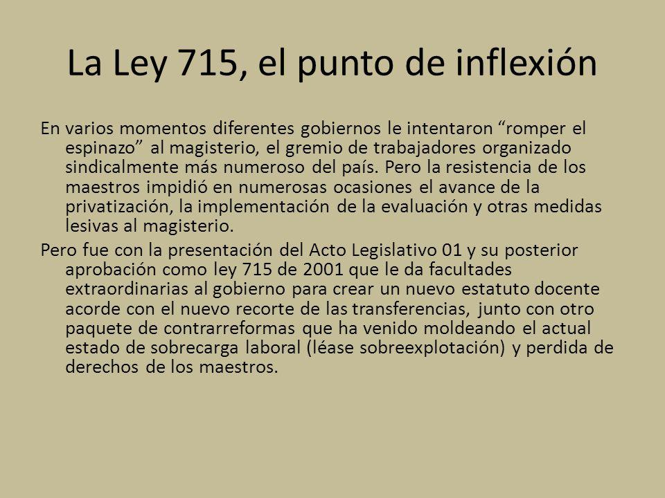 La Ley 715, el punto de inflexión En varios momentos diferentes gobiernos le intentaron romper el espinazo al magisterio, el gremio de trabajadores organizado sindicalmente más numeroso del país.