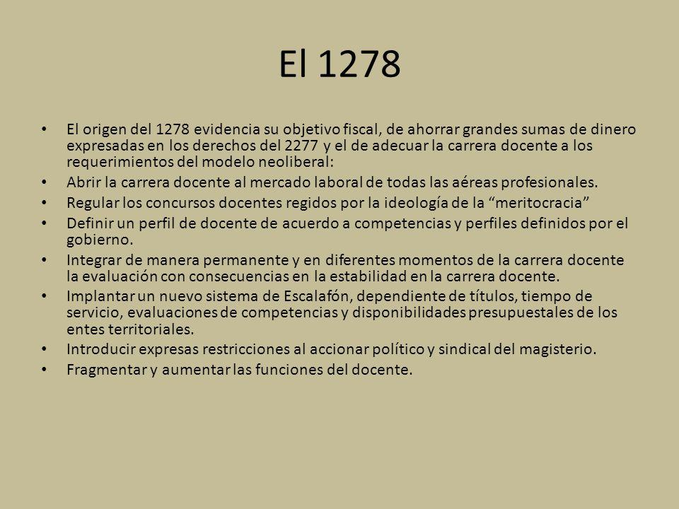 El 1278 El origen del 1278 evidencia su objetivo fiscal, de ahorrar grandes sumas de dinero expresadas en los derechos del 2277 y el de adecuar la car