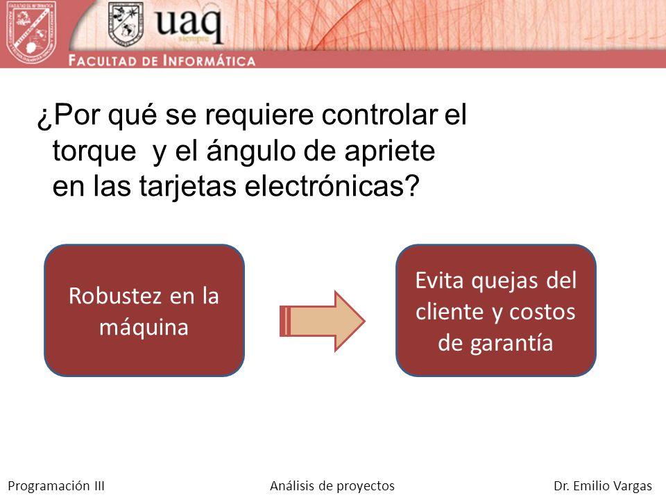 Programación III Análisis de proyectos Dr. Emilio Vargas Evita quejas del cliente y costos de garantía Robustez en la máquina ¿Por qué se requiere con
