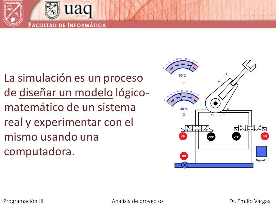 Programación III Análisis de proyectos Dr. Emilio Vargas La simulación es un proceso de diseñar un modelo lógico- matemático de un sistema real y expe