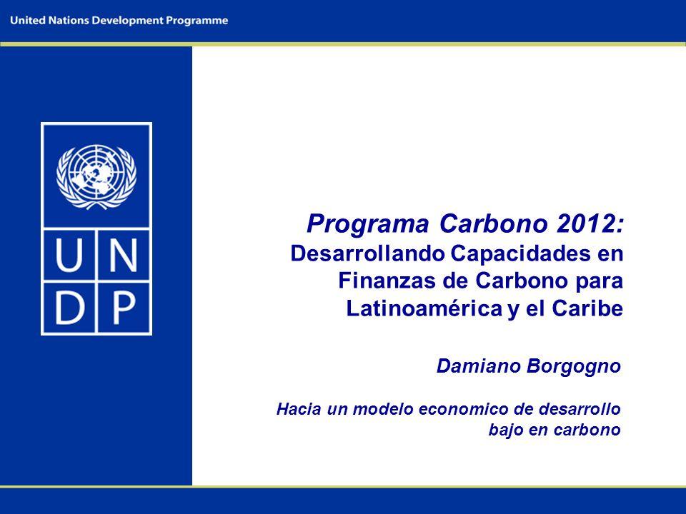 Programa Carbono 2012: Desarrollando Capacidades en Finanzas de Carbono para Latinoamérica y el Caribe Damiano Borgogno Hacia un modelo economico de desarrollo bajo en carbono