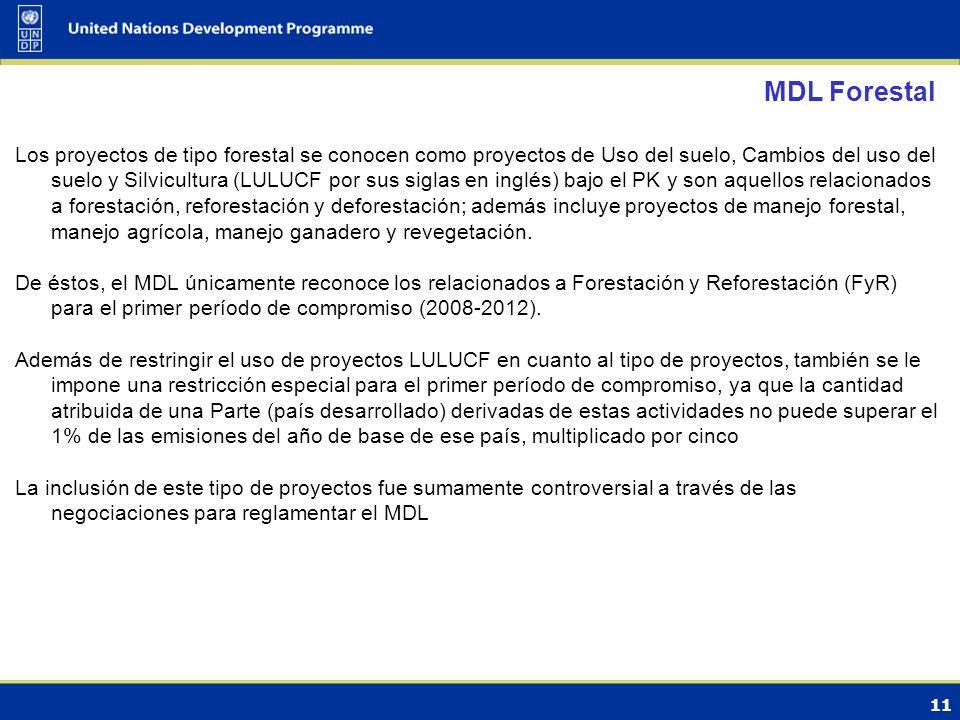 11 MDL Forestal Los proyectos de tipo forestal se conocen como proyectos de Uso del suelo, Cambios del uso del suelo y Silvicultura (LULUCF por sus siglas en inglés) bajo el PK y son aquellos relacionados a forestación, reforestación y deforestación; además incluye proyectos de manejo forestal, manejo agrícola, manejo ganadero y revegetación.