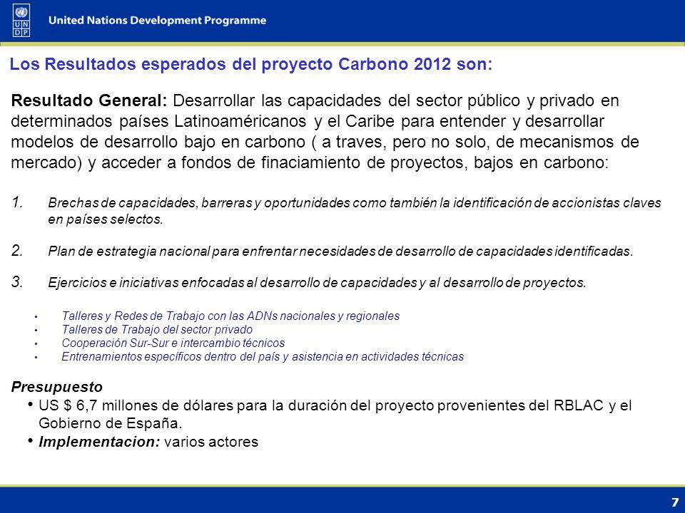 7 Los Resultados esperados del proyecto Carbono 2012 son: Resultado General: Desarrollar las capacidades del sector público y privado en determinados países Latinoaméricanos y el Caribe para entender y desarrollar modelos de desarrollo bajo en carbono ( a traves, pero no solo, de mecanismos de mercado) y acceder a fondos de finaciamiento de proyectos, bajos en carbono: 1.