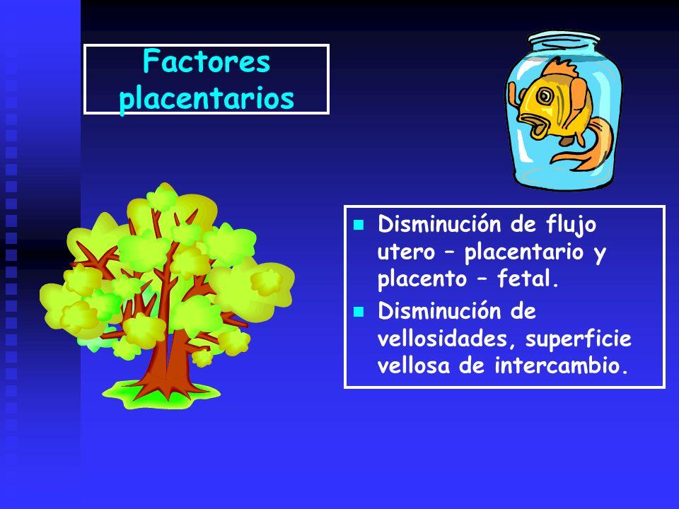 Factores placentarios Disminución de flujo utero – placentario y placento – fetal. Disminución de vellosidades, superficie vellosa de intercambio.