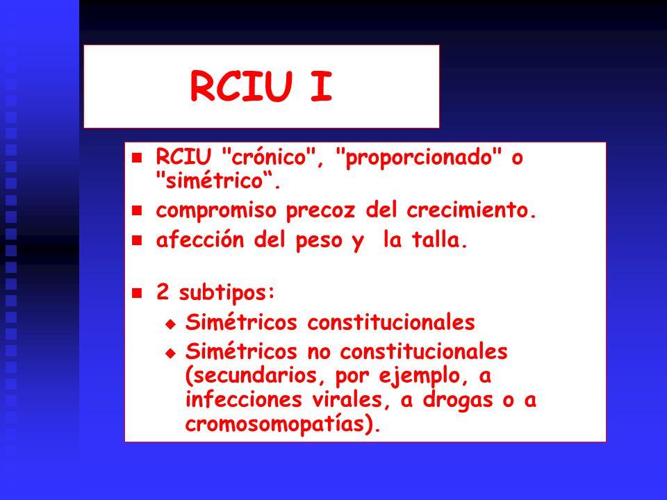 RCIU I RCIU crónico , proporcionado o simétrico.