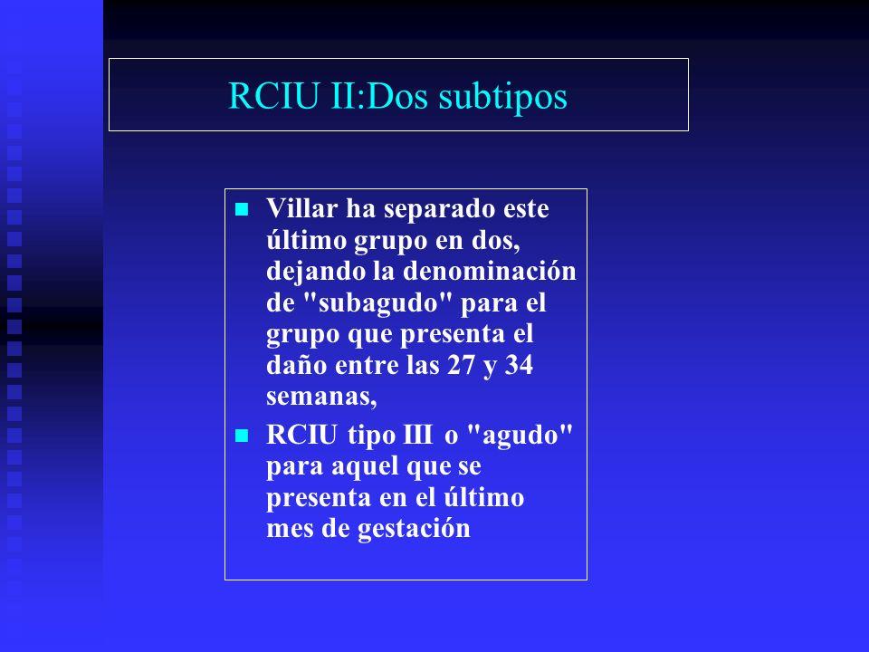 RCIU II:Dos subtipos Villar ha separado este último grupo en dos, dejando la denominación de subagudo para el grupo que presenta el daño entre las 27 y 34 semanas, RCIU tipo III o agudo para aquel que se presenta en el último mes de gestación