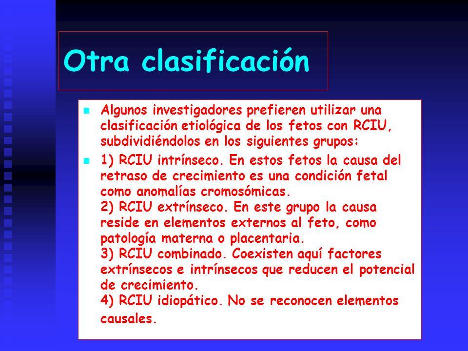 Otra clasificación Algunos investigadores prefieren utilizar una clasificación etiológica de los fetos con RCIU, subdividiéndolos en los siguientes grupos: 1) RCIU intrínseco.