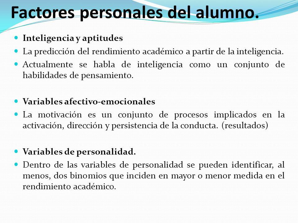 Factores personales del alumno. Inteligencia y aptitudes La predicción del rendimiento académico a partir de la inteligencia. Actualmente se habla de