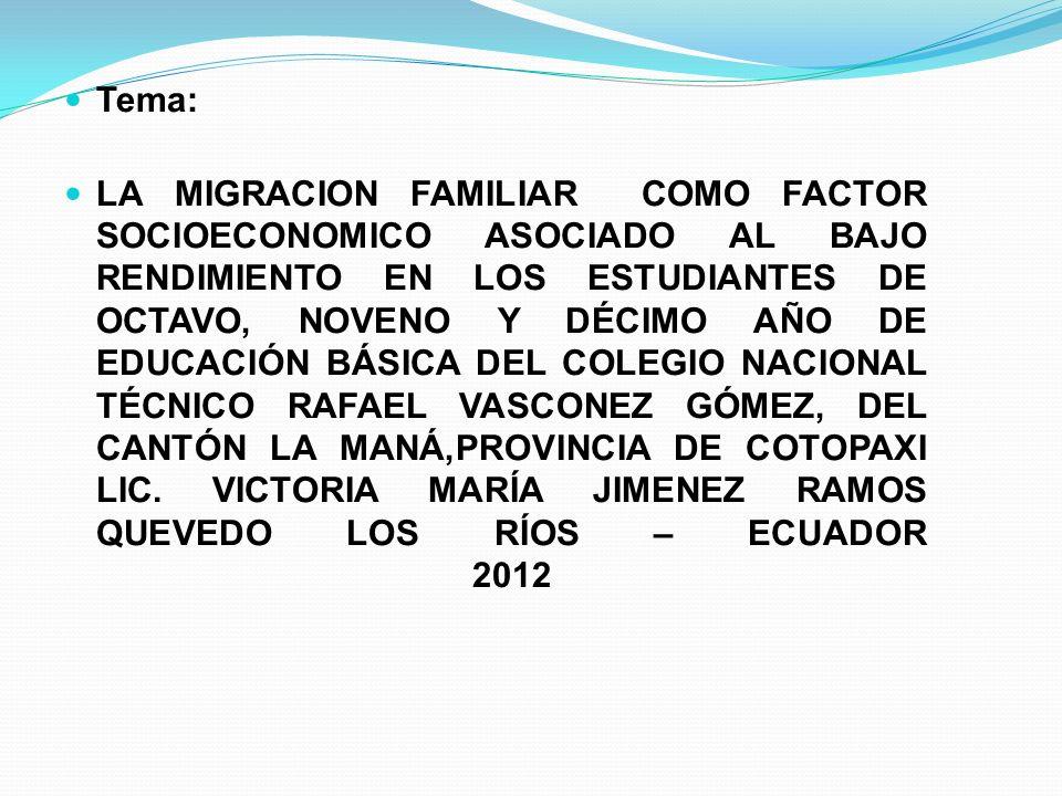 Tema: LA MIGRACION FAMILIAR COMO FACTOR SOCIOECONOMICO ASOCIADO AL BAJO RENDIMIENTO EN LOS ESTUDIANTES DE OCTAVO, NOVENO Y DÉCIMO AÑO DE EDUCACIÓN BÁS