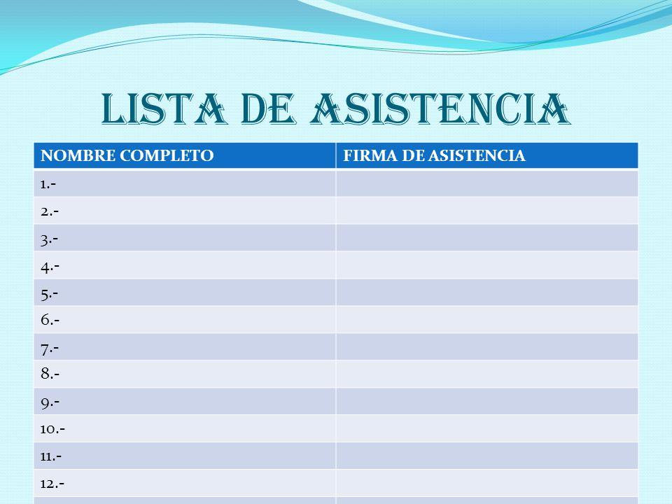 LISTA DE ASISTENCIA NOMBRE COMPLETOFIRMA DE ASISTENCIA 1.- 2.- 3.- 4.- 5.- 6.- 7.- 8.- 9.- 10.- 11.- 12.- 13.- 14.-