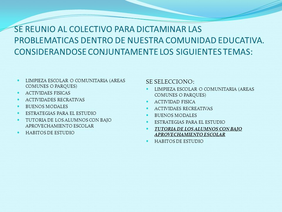 SE REUNIO AL COLECTIVO PARA DICTAMINAR LAS PROBLEMATICAS DENTRO DE NUESTRA COMUNIDAD EDUCATIVA. CONSIDERANDOSE CONJUNTAMENTE LOS SIGUIENTES TEMAS: LIM