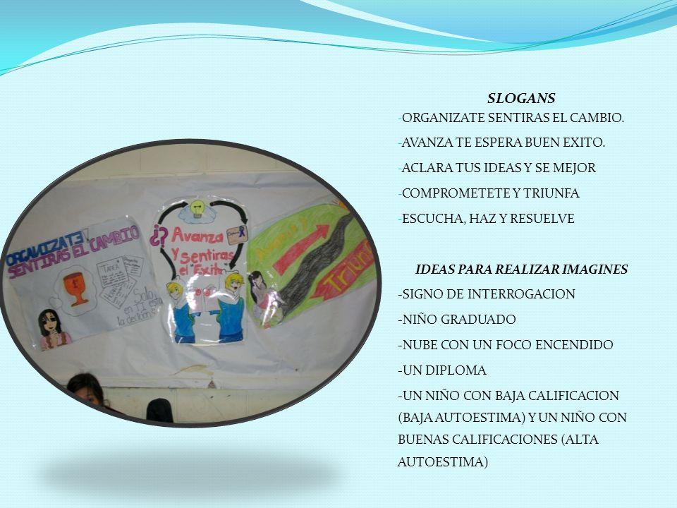 SLOGANS - ORGANIZATE SENTIRAS EL CAMBIO. - AVANZA TE ESPERA BUEN EXITO. - ACLARA TUS IDEAS Y SE MEJOR - COMPROMETETE Y TRIUNFA - ESCUCHA, HAZ Y RESUEL