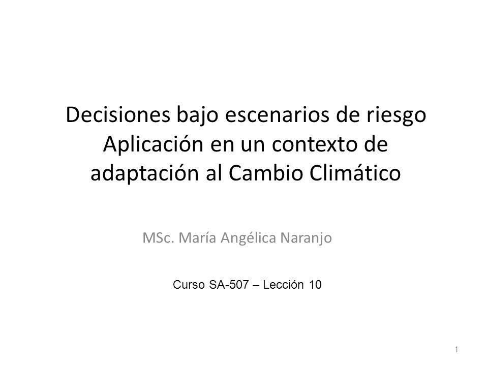 Decisiones bajo escenarios de riesgo Aplicación en un contexto de adaptación al Cambio Climático MSc. María Angélica Naranjo 1 Curso SA-507 – Lección