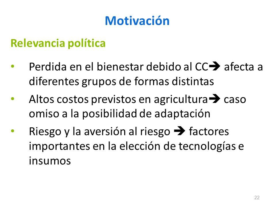 Motivación Relevancia política Perdida en el bienestar debido al CC afecta a diferentes grupos de formas distintas Altos costos previstos en agricultu