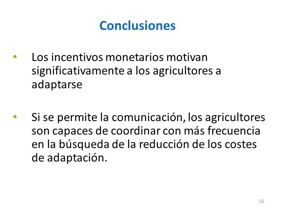 Conclusiones Los incentivos monetarios motivan significativamente a los agricultores a adaptarse Si se permite la comunicación, los agricultores son c