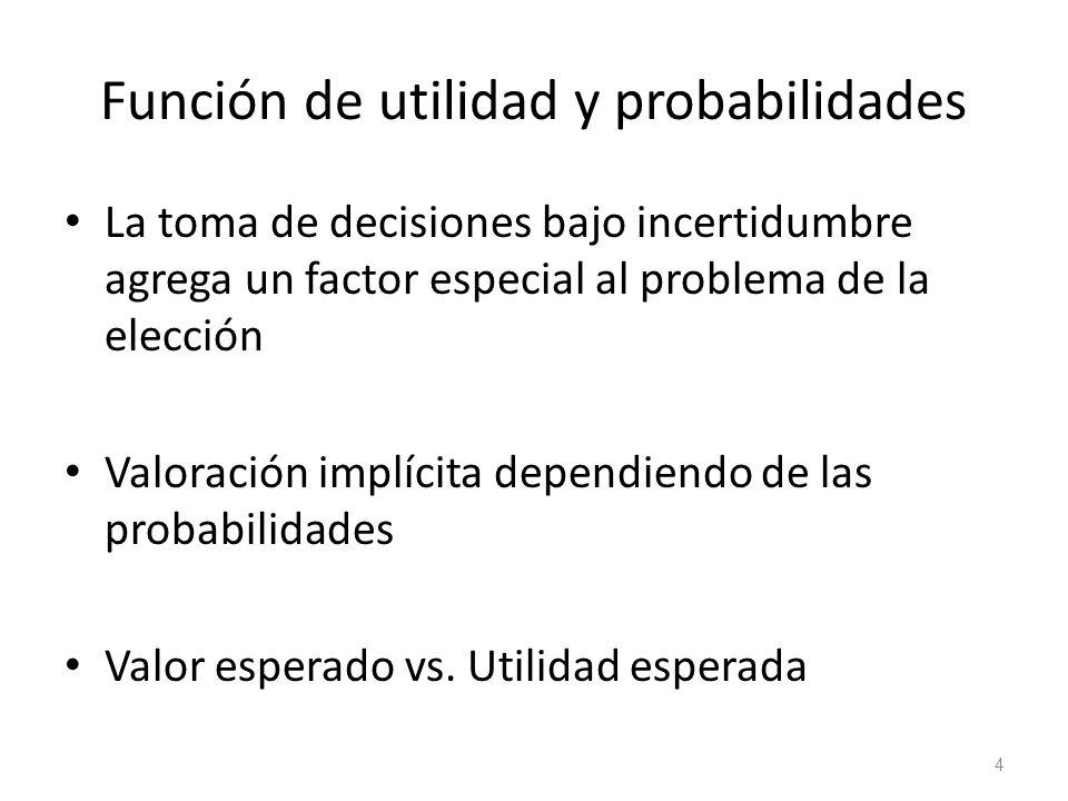 Función de utilidad y probabilidades La toma de decisiones bajo incertidumbre agrega un factor especial al problema de la elección Valoración implícit