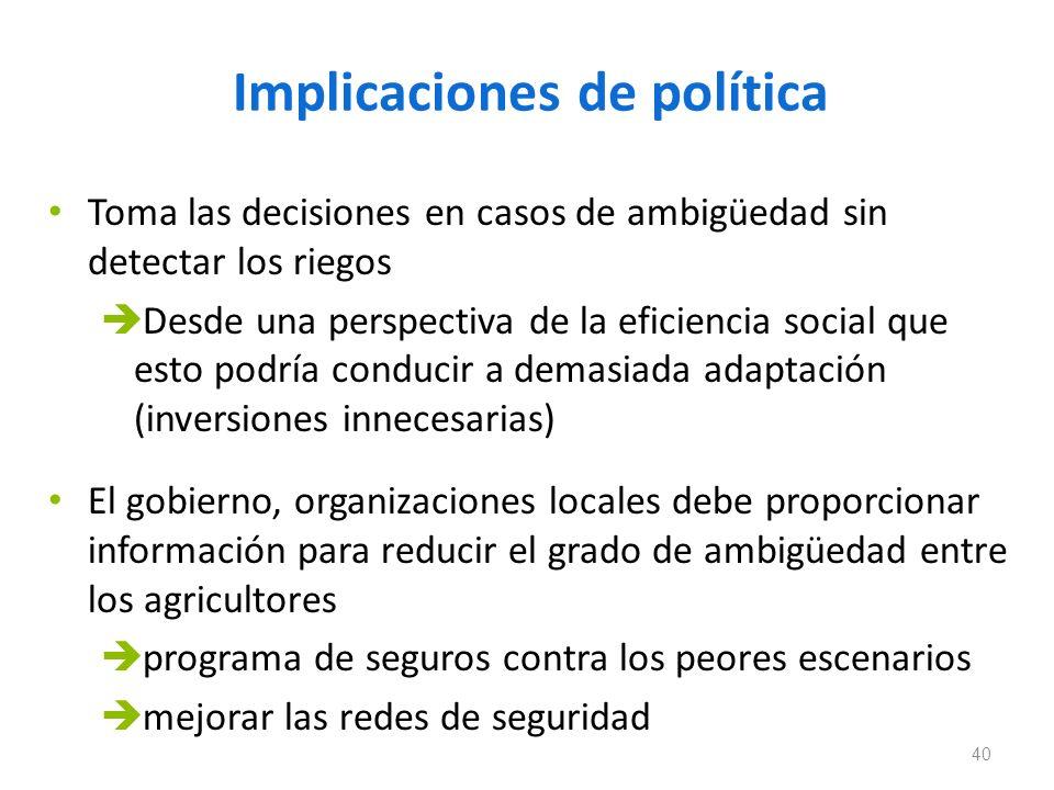 Implicaciones de política Toma las decisiones en casos de ambigüedad sin detectar los riegos Desde una perspectiva de la eficiencia social que esto po