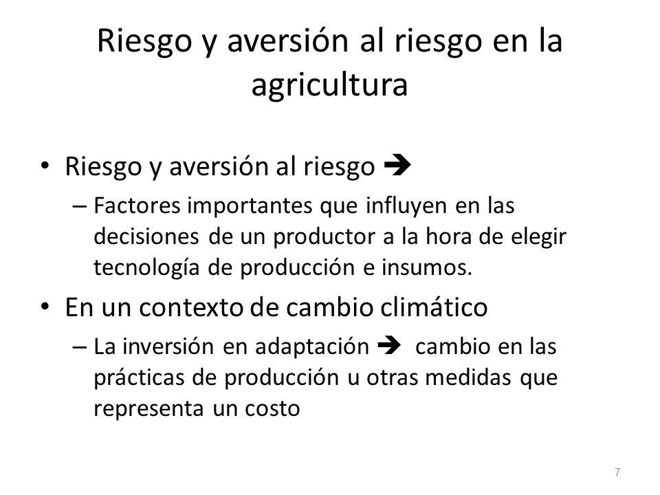 Riesgo y aversión al riesgo en la agricultura Riesgo y aversión al riesgo – Factores importantes que influyen en las decisiones de un productor a la h
