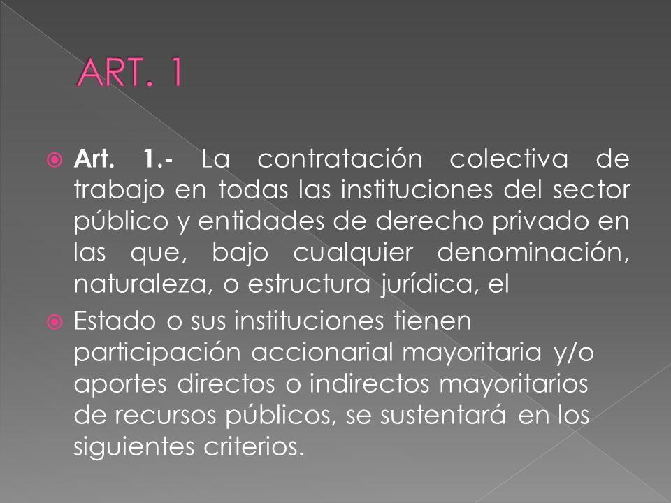 Art. 1.- La contratación colectiva de trabajo en todas las instituciones del sector público y entidades de derecho privado en las que, bajo cualquier