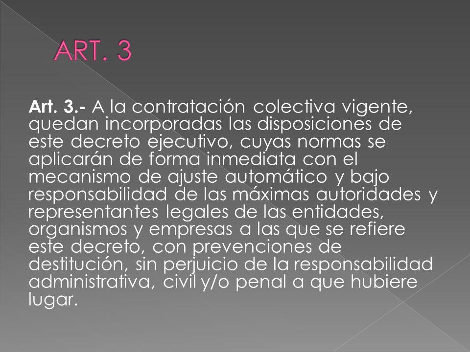 Art. 3.- A la contratación colectiva vigente, quedan incorporadas las disposiciones de este decreto ejecutivo, cuyas normas se aplicarán de forma inme