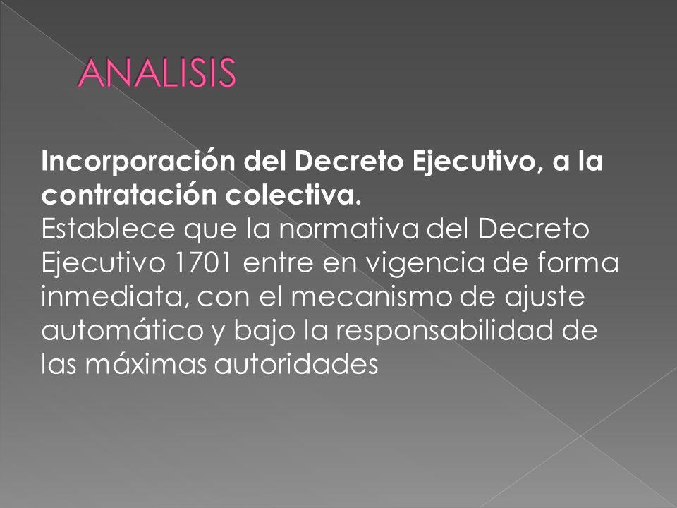 Incorporación del Decreto Ejecutivo, a la contratación colectiva.