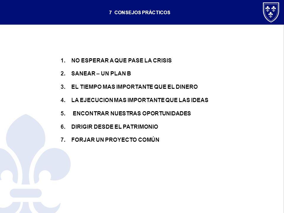 7 CONSEJOS PRÁCTICOS 1.NO ESPERAR A QUE PASE LA CRISIS 2.SANEAR – UN PLAN B 3.EL TIEMPO MAS IMPORTANTE QUE EL DINERO 4.LA EJECUCION MAS IMPORTANTE QUE LAS IDEAS 5.