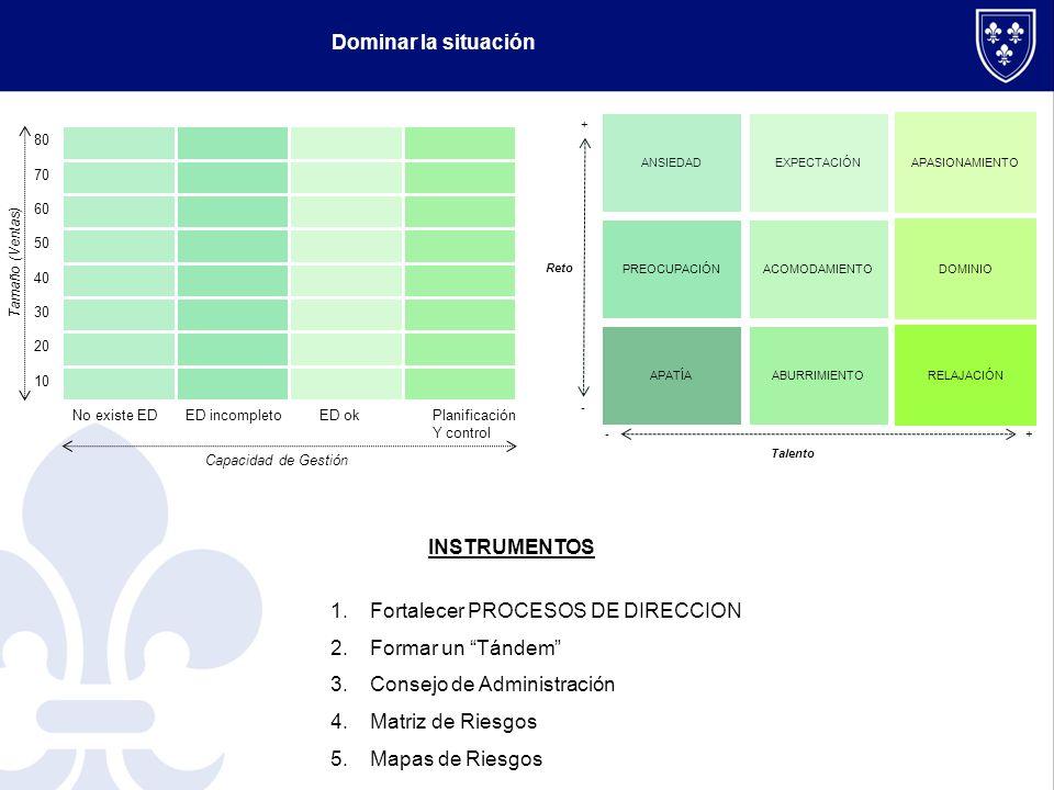 Mapa de riesgos Riesgos Evolución en el tiempo 1.-Accidente padreACT- 2.- Operaciones VinculadasACT= 3.- Puesto Heredero 1ACT+ 4.- No encaje heredero 2DES 5.- Relaciones 2ªGDES 6.- Ruptura cliente principalACT= 7.- Incremento competenciaDES+ 8.- Disminución márgenesACT+ 9.- Diversificación de clientesACT- 10.- Eficiencia OperativaACT- 11.- Pérdida CompromisoDES+ 12.- SindicatosDES TIEMPO CPLP Bajo Alto 4 5 7 11 12 DESARROLL O DE NEGOCIO PROBABILIDAD BajaAlta Bajo Alto 1 9 2 3 6 8 10 8 NEGOCIO ACTUAL 9