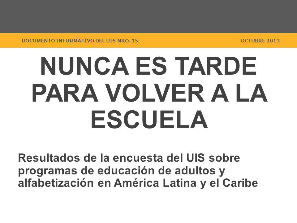 NUNCA ES TARDE PARA VOLVER A LA ESCUELA Resultados de la encuesta del UIS sobre programas de educación de adultos y alfabetización en América Latina y