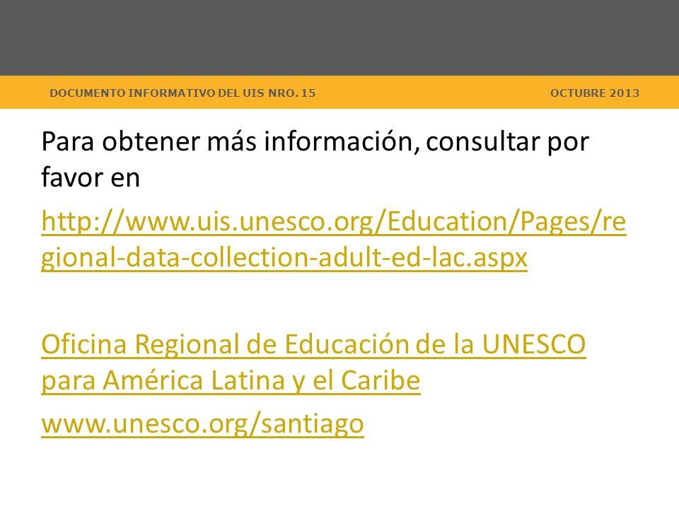 DOCUMENTO INFORMATIVO DEL UIS NRO. 15OCTUBRE 2013 Para obtener más información, consultar por favor en http://www.uis.unesco.org/Education/Pages/re gi