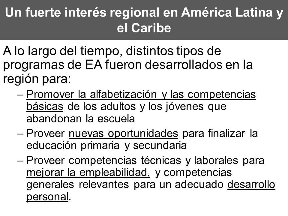 Un fuerte interés regional en América Latina y el Caribe A lo largo del tiempo, distintos tipos de programas de EA fueron desarrollados en la región p