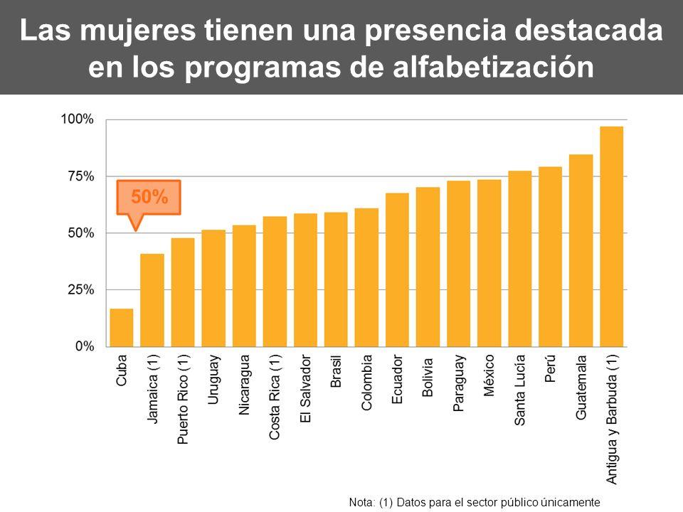 Las mujeres tienen una presencia destacada en los programas de alfabetización Nota: (1) Datos para el sector público únicamente