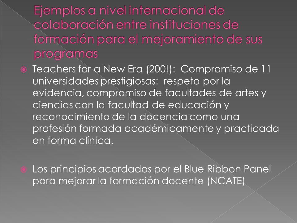 Teachers for a New Era (200!): Compromiso de 11 universidades prestigiosas: respeto por la evidencia, compromiso de facultades de artes y ciencias con