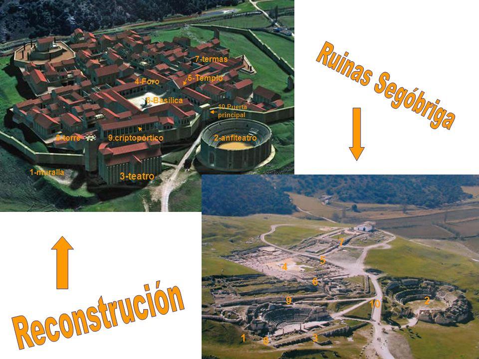 2-anfiteatro 1-muralla 1 2 3-teatro 3 4-Foro 4 5-Templo 5 10-Puerta principal 10 6-Basílica 6 7-termas 7 8-torre 8 9.criptopórtico 9