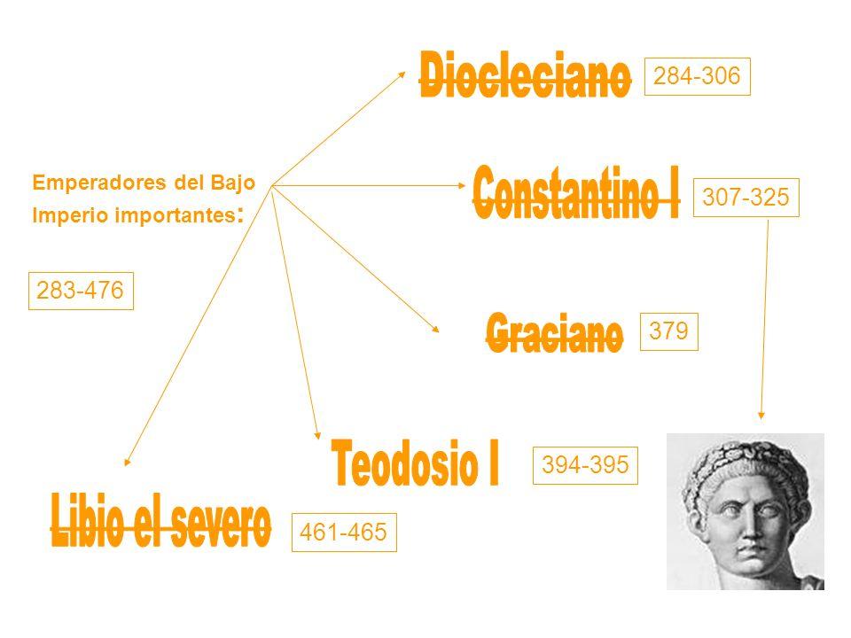 Emperadores del Bajo Imperio importantes : 284-306 307-325 394-395 379 461-465 283-476