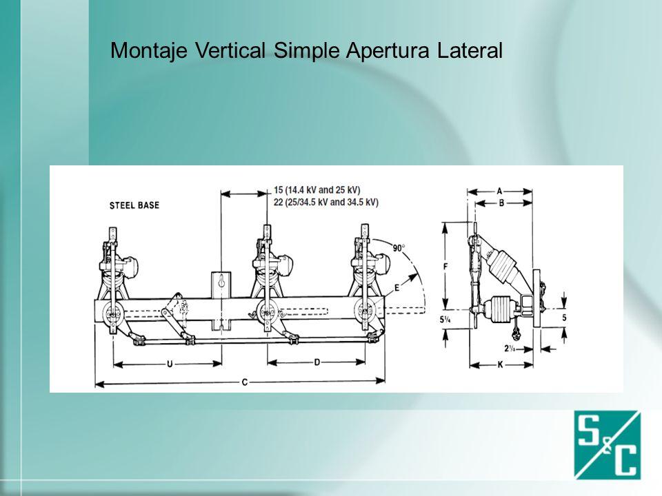 Tipos de Montaje en cuchillas de operación en grupo Montaje Horizontal Simple Apertura Lateral