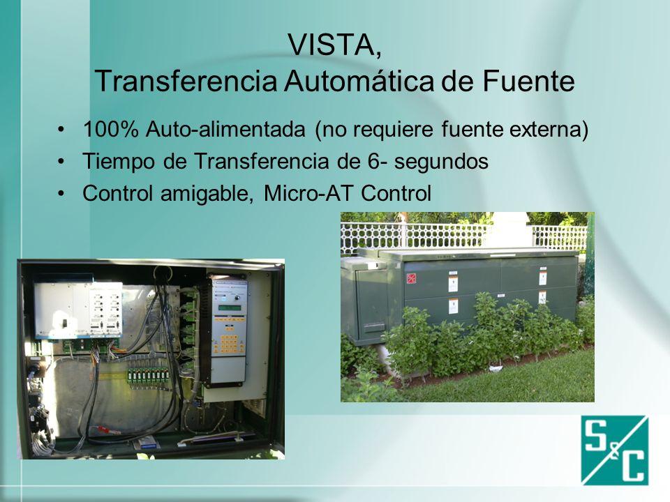 VISTA, Transferencia Automática de Fuente El equipo de transferencia automática tiene como único objetivo, el brindar una fuente de alimentación confiable en todo momento.